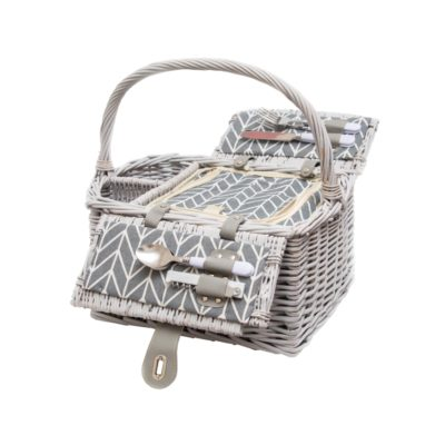 Two Person Wine Picnic Basket Set - Grey Harringbone