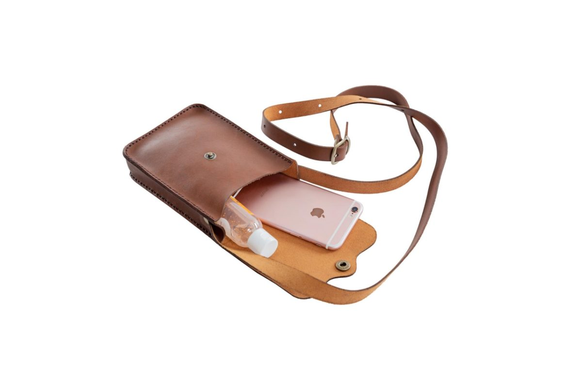 Unisex Leather Pocket Bag - Open