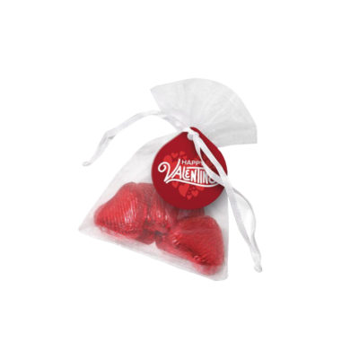 Chocolate Hearts Organza Pouch