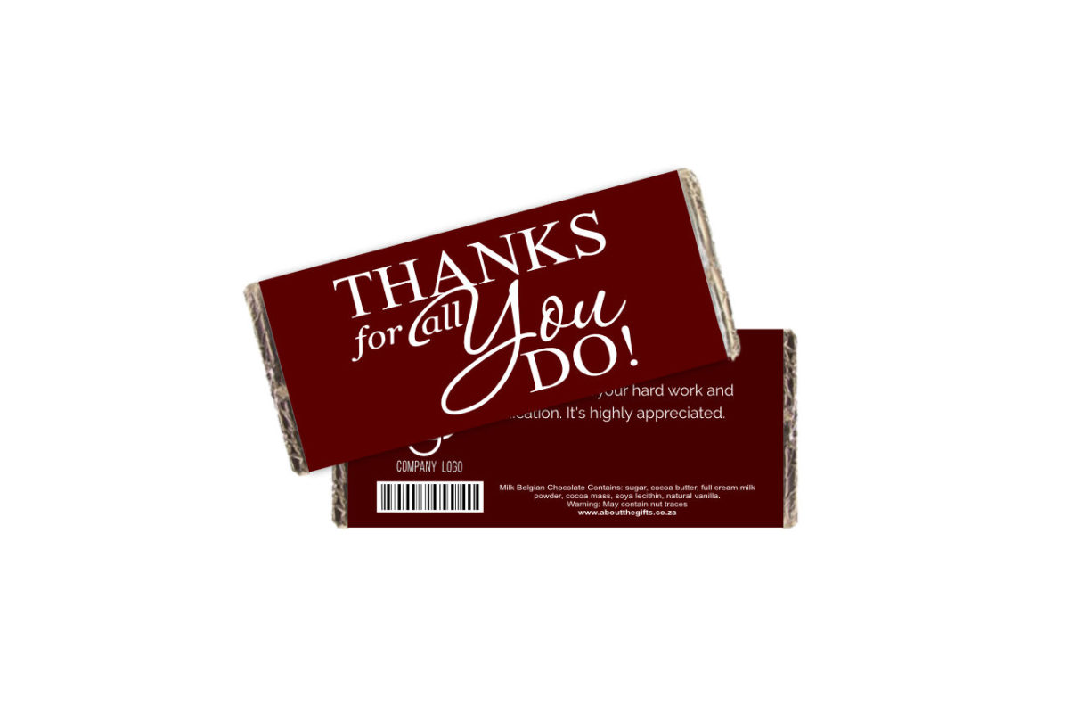 Thanks For All You Do Branded Chocolate Slab
